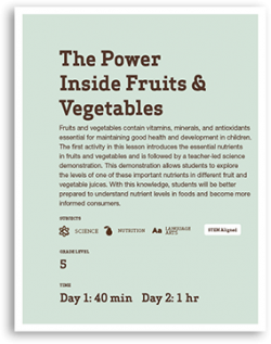 The Power Inside Fruits & Vegetables Lesson Cover