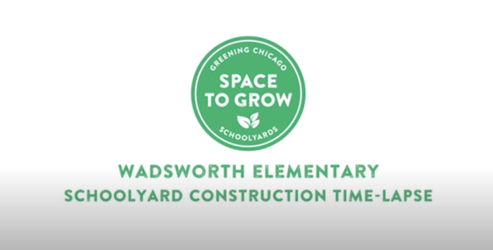 Space to Grow logo. On-screen text: Wadsworth Elementary Schoolyard Construction Time-lapse