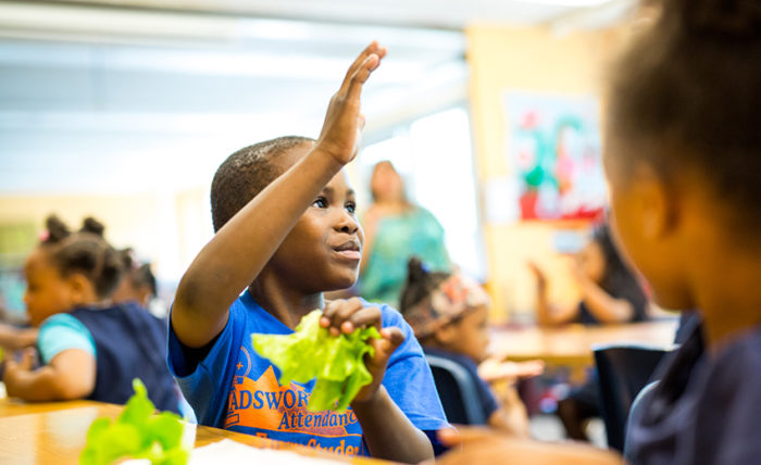 A young boy holds a leaf of lettuce in his hand as he sets at a classroom table. He raises his hand and smiles.