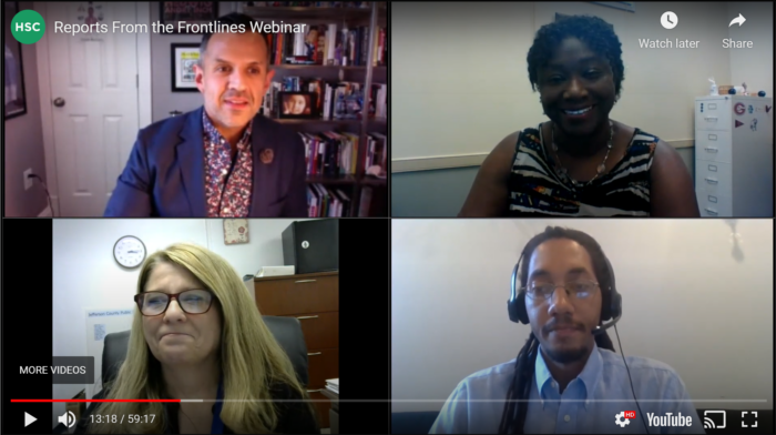 Screenshot from video: Reports From the Frontlines virtual event