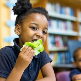 young student eating fresh lettuce from a school garden in Chicago