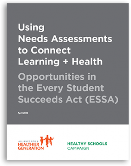 cover of needs assessment guidance, dark grey with Healthy Schools Campaign and Alliance for a Healthier Generation logos