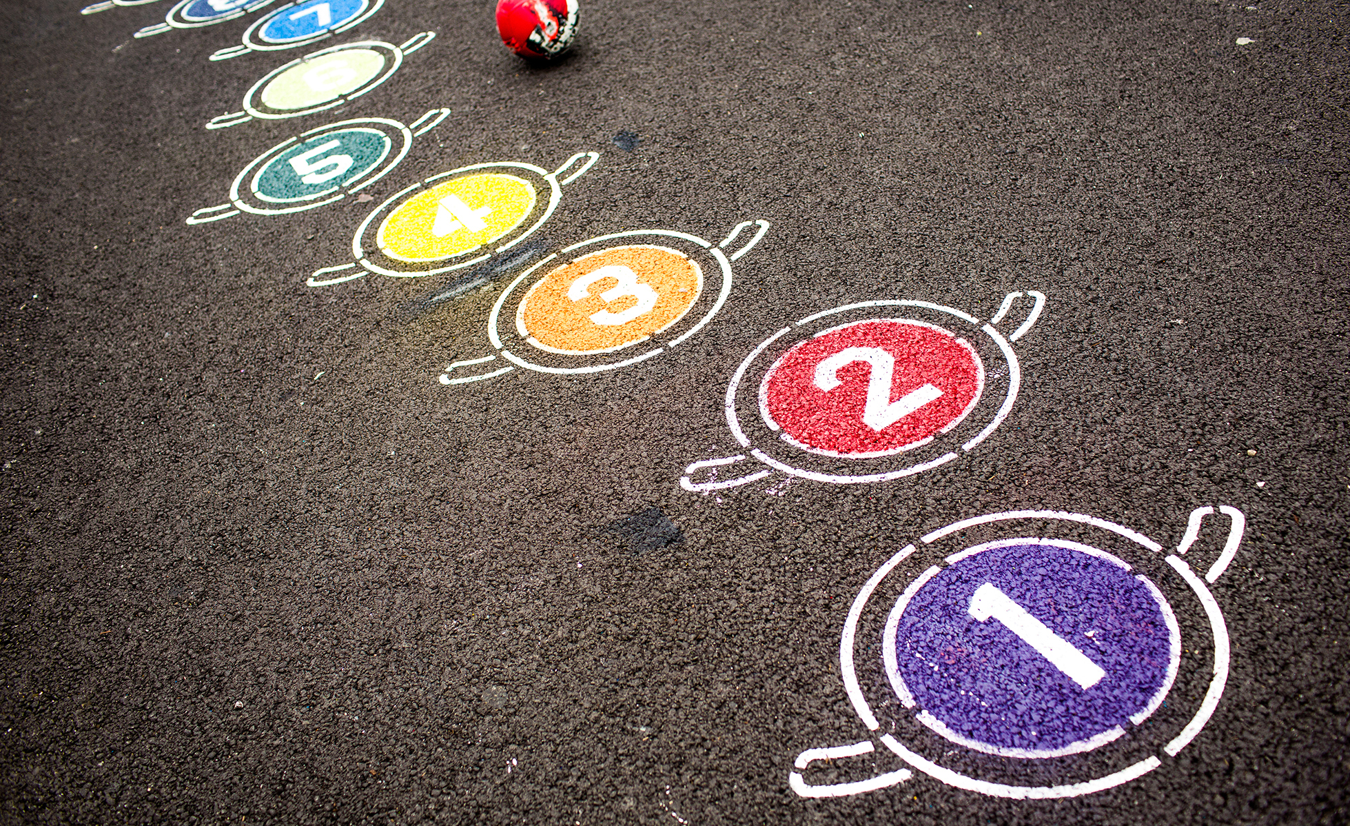 Colorful Numbers Painted On A Schoolyard Play Surface