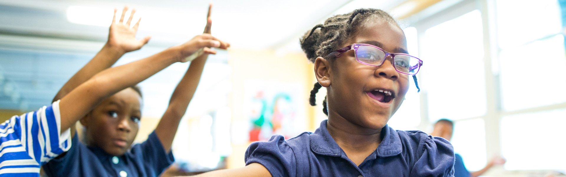African American students being active in a classroom